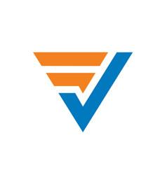 initial letter fv or vf logo vector image