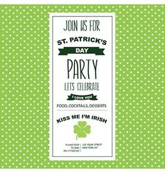 Invitation Saint Patricks DayHoliday poster Party vector
