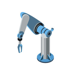 isometric blue robotic arm vector image