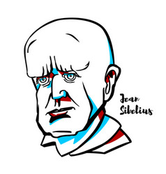 jean sibelius portrait vector image