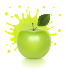 juicy green apple with a splash of juice vector image