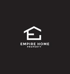Letter e for empire home property logo design vector