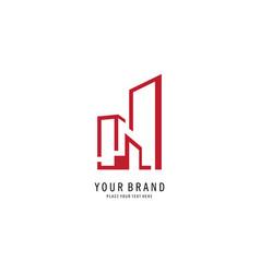letter h building logo vector image