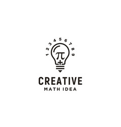 light bulb pi numeric mathematics logo design vector image