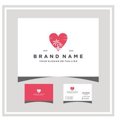 Love beach logo design and business card vector