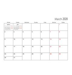 March 2020 simple calendar planner week starts vector