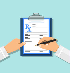 Medical concept with prescription on rx form vector