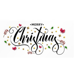 Merry christmas inscription decorated with gold vector