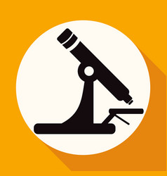 microscope icon on white circle with a long shadow vector image
