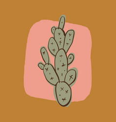 minimalist colorful one cactus isolated art print vector image