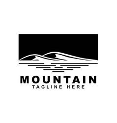 mountain with lake logo design vector image