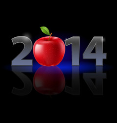 New year 2014 metal numerals with red apple vector