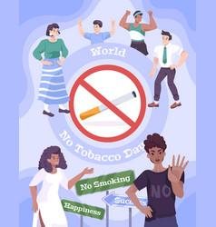 no tobacco day poster vector image