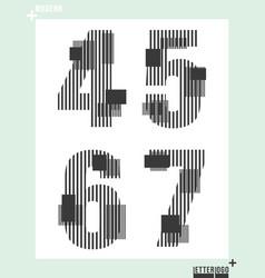 number font template modern design vector image