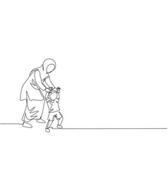 One single line drawing young arabian mother vector