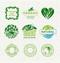 organic food labels and elements set for food and vector image