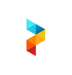 p letter logo pixel triangle geometric colorful vector image