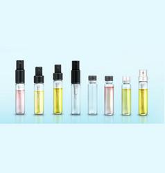 Perfume sample bottles small vials mockup set vector