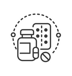 pills and vitamins - line design single isolated vector image