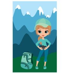 pretty girl the tourist vector image