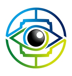Rainbow eye glossy bussines design icon vector
