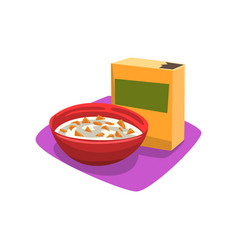 Red bowl full of corn flakes with milk breakfast vector