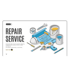 Repair service isometric landing page blueprint vector