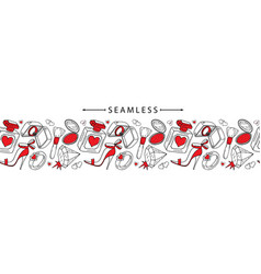 romantic horizontal seamless border valentines vector image