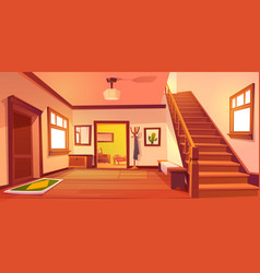 Rustic house hallway interior with wooden stairs vector