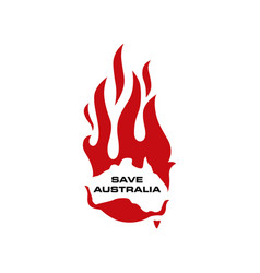 save australia fire flame burn logo icon vector image
