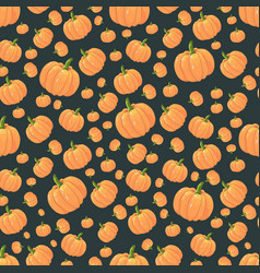 seamless pattern orange isolated pumpkins on a vector image