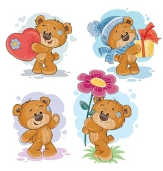 Set clip art of teddy bears vector image