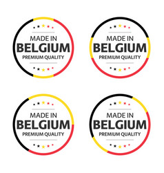 Set four belgian icons made in belgium vector