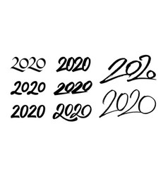 Set new year 2020 calligraphy numbers vector