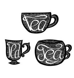 Set of black teacups with lettering and doodle vector