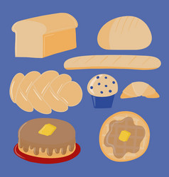 Set of different bread and breakfast foods vector
