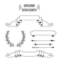 set of handdrawn vintage elements ribbons arrows vector image