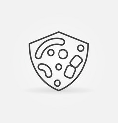 shield with bacteria and germs linear vector image