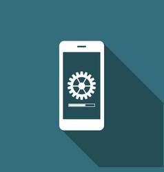 smartphone update process with gearbox progress vector image