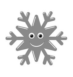Snowflake smiley baface cute winter gray snow vector