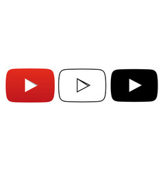 social media icon set for youtube in different vector image