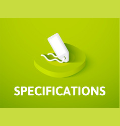 Specifications isometric icon isolated on color vector