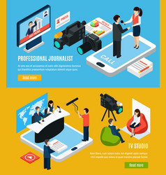 television journalism isometric banners vector image