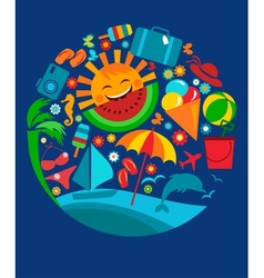 template of summer icons on blue vector image