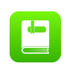 thick book with bookmark icon digital green vector image