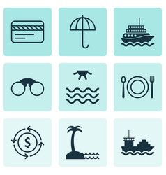 tourism icons set with field glasses restaurant vector image
