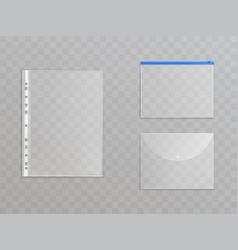 transparent plastic files - office supplies vector image