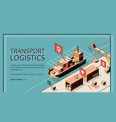 Transport logistics ship port delivery service vector