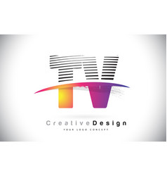 Tv t v letter logo design with creative lines and vector