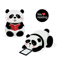 Two cute pandas with reading concept vector image